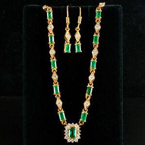 22k Yellow Gold Emerald & Diamond Necklace Dangle Earring Set 5.31ctw 16.16g
