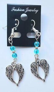 Angel Wing Charm Drop Earrings Angel Earrings Wing Earrings