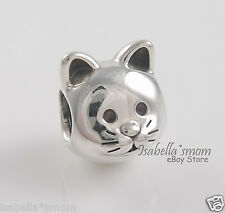 Authentic PANDORA Silver CURIOUS CAT Kitty Face PET Charm/Bead 791706 NEW w BOX