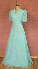 Vintage Dress Gown 70s Retro Evening Wedding Party Victorian Style Boho UK 12