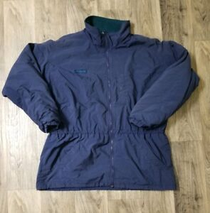 Mens Vintage Style Columbia Brand Big Puffer Jacket Navy Blue Green Wool Size XL