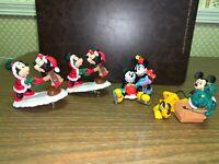 FOUR ornaments mickey minnie mouse skates mistletoe 1997 2003 2010