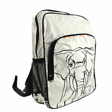 """Upcycled White Elephant Backpack Torrain Travel Carry On Bag School Work Eco 18"""""""