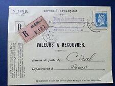L042. France. Valeurs a recouvrer + Devant d'enveloppe