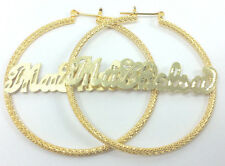 "PERSONALIZED 14K GOLD PLATED 2:00"" HOOP NAME EARRINGS, CHOOSE ANY NAME*US SELLER"