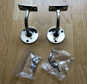 2 X SILVER HANDRAIL BANNISTER SUPPORT Strong Metal Stair Rail Wall Pole Bracket