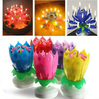 Magic Cake Birthday Lotus Flower Candle Decoration Blossom Music Rotating Gift~~