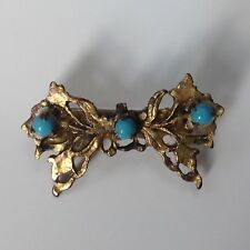 Antique Natural Turquoise Seed Pearl & Silver Tone Brooch