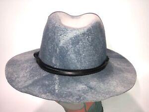 Rare Goorin Bros Slate Blue Flat Stiff Wide Brim Fedora Hat Western Hat M New