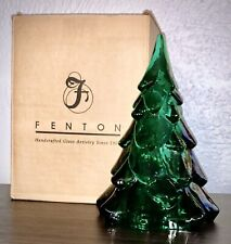 "Fenton Art Glass Signed 7"" Tall Emerald Green Christmas Tree Mint Condition"