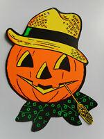 Vintage Beistle Orange Black Paper Pumpkin Scarecrow Straw Halloween Decoration