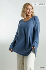 Umgee Blue Waffle Knit Asymmetrical Hem Top Plus Size