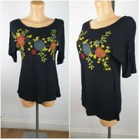 NEW Matalans Ladies Black Embroidered Summer Top Size 10 - 22