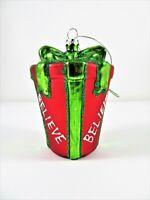 Glass Christmas Ornament Believe Wrapped Flowerpot Gift Glitter Green Red