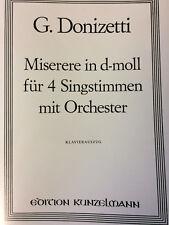 Donizetti - Miserere in d-moll - für 4 Singstimmen mit Orchester, Klavierauszug