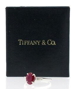 TIFFANY & CO Platinum Natural Oval Burmese Ruby Diamond Ladies Ring Size 6 GIA
