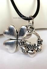 Silver Plated Claddagh Shamrock Necklace Pendant Irish Celtic Adjustable USA