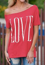 Fashion Women Summer Casual Loose Short Sleeve Cotton Tops T-Shirt Love Blouse