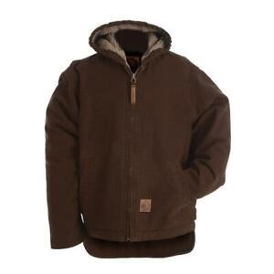 Berne Apparel BHJ42BBR400 Boys Washed Hooded Coat Bark - Medium