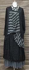 LAGENLOOK*KEKOO*LINEN MIX AMAZING QUIRKY GATHERED DRESS*ANTHRACITE* 46-48-50