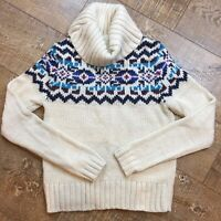 Prince & Fox  Womens Fair Isle Turtleneck Sweater Cream Blue Chunky Knit M