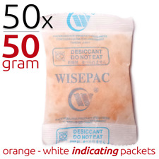 50 x 50 gram Silica Gel Packets Moisture Absorber Indicating Desiccant