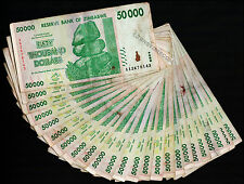 50,000 Zimbabwe Dollars x 25 Bank Notes 50 Thousand ¼ Bundle 2008 Before Million
