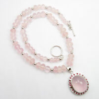 """925 Stamp Natural ROSE QUARTZ RUBY Stone Pure Silver 17.8"""" Necklace Fine Jewelry"""