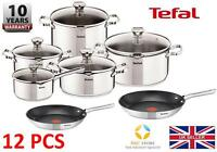 TEFAL DUETTO STAINLESS STEEL COOKWARE SET 12 PCS LID POTS 24 28 cm PANS KITCHEN
