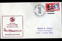 "1° VOL AIR-FRANCE New York-PARIS-Nice BOING, Oblitération ""A.M.F. IDLEWILD"" 1963"