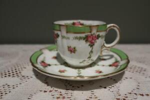 Antique George Jones Crescent China Demitasse Duo - Hand painted - Roses - GC