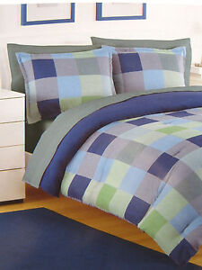 TWIN - IZOD - Crew Plaid - Blue & Green Blocks Overstuffed COMFORTER & SHAM SET