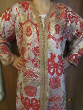 Mint/vtg40s/Fez/long /Silk/Kaftan/Caftan/lined /silver/red tulips/ribbons/Med