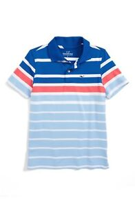 Vineyard Vines Boy's Engineer Stripe Performance Polo in Kingfisher  $49.50