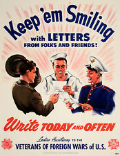 Original Vintage WWII Poster Keep 'Em Smiling by Syd Cockell 1943 VFW Letters