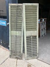 pair c1870 vintage louvered Victorian house window shutters 65.75� x 17.25�