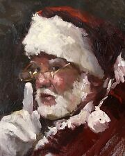 VINTAGE SANTA PORTRAIT JOLLY OLD ST NICK CHRISTMAS CANVAS ART PRINT LARGE