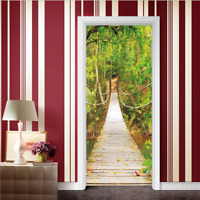 Suspension Bridge 3D Wall Art Door Sticker PVC Decal Self Adhesive Wrap Mural