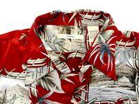 CAMPIA MODA  short sleeve button front Hawaiian shirt, sz med, red /tan (L)