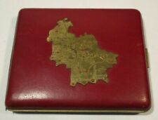 Us German Zone Post Wwii Antique Brass Metal Red Leather Cigarette Case