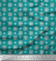 Soimoi Green Cotton Poplin Fabric Crystals Floral Print Fabric by-fCH