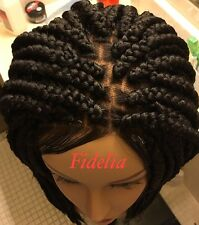 Fully hand braided lace front box braid wig color 1B with Baby hair