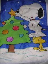 "022O Vintage SNOOPY WOODSTOCK Peanuts CHRISTMAS TREE Garden Porch Flag 28x43"""
