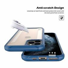 Case For iPhone 11 Pro Max Clear Shockproof Anti Slip Cover Hybrid Bumper Blue