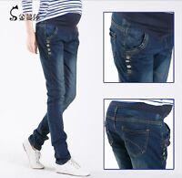 Maternity Pants Dark Blue Denim Elastic Pregnant Pants Regular M L XL 2 XL