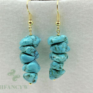 Natural Turquoise Pendant Earrings 18k Ear Stud TwoPin Luxury Cultured Party