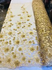 3D Flower-Floral GOLD Embroidered With Pearls Lace Fabric Wedding By The Yard