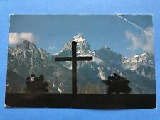Vintage Postcard Post Card Grand Teton From Chapel Transfiguration Cross Jesus