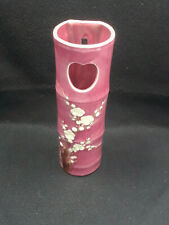 Pink Bamboo Vase With White Flowers Wall Pocket