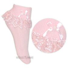 Niña & baby crema rosa y blanco Jester Encaje Volantes Calcetines 1 Par O 3
